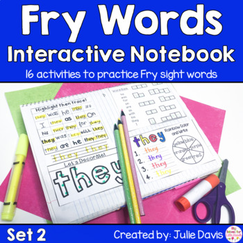 Fry First 100 Set 2 Sight Word Interactive Notebooks Activities