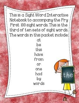 Fry First 100 Set 1 Sight Word Interactive Notebooks Set 3