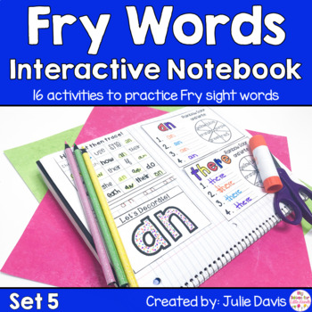 Fry First 100 Set 1 Sight Word Interactive Notebooks Set 5