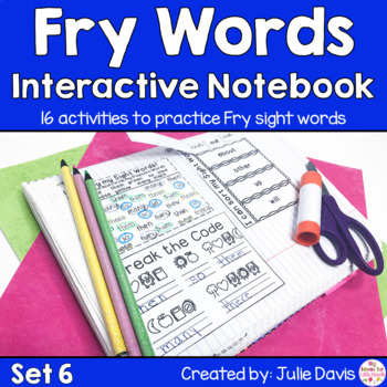 Fry First 100 Set 1 Sight Word Interactive Notebooks Set 6