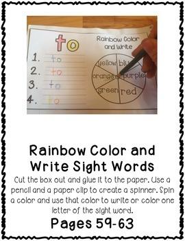 Fry First 100 Set 1 Sight Word Interactive Notebooks Set 7
