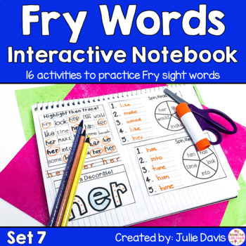 Fry First 100 Set 1 Sight Word Interactive Notebooks Set 7