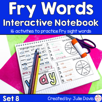 Fry First 100 Set 1 Sight Word Interactive Notebooks Set 8