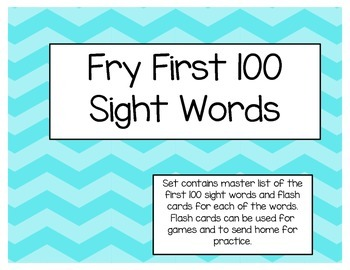 Fry First 100 Sight Word Flash Cards