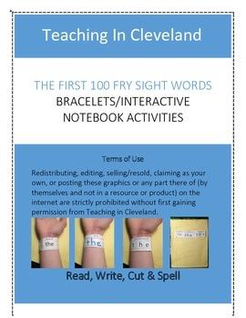 Kindergarten Fry Sight Words Bracelets Interactive Notebook