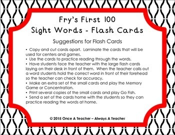 Fry First 100 Sight Words - Flash Cards