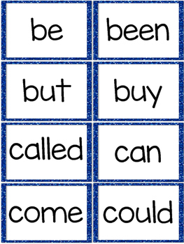 Fry First 100 Sight Words - Word Wall Cards - Blue Glitter