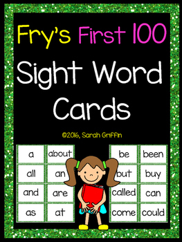 Fry First 100 Sight Words - Word Wall Cards - Green Glitter