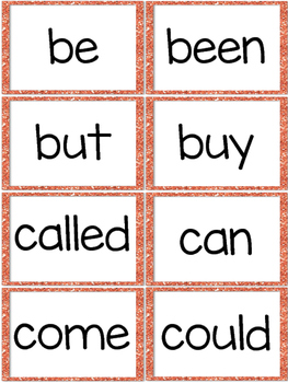 Fry First 100 Sight Words - Word Wall Cards - Orange Glitter