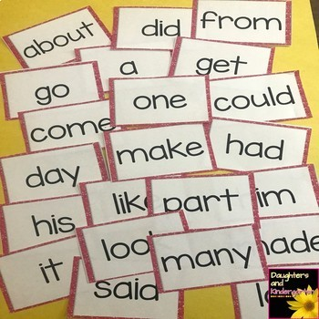 Fry First 100 Sight Words - Word Wall Cards - Red Glitter