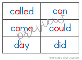 Fry 1st 100 Sight Word Cards