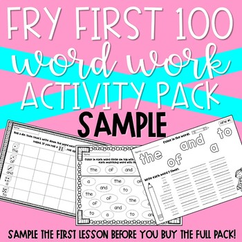 Fry First 100 Word Work Pack SAMPLE
