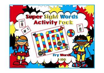 Fry First 100 Words Activity Pack (Super Hero Kids Theme)