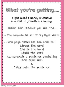 No Prep Sight Word Drills {Fry's First 100 Words}