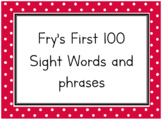 Fry First 100 Words and Phrases Flash Cards