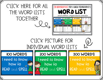 Fry High Frequency Word List and Other Important Words  {A PAPERLESS RESOURCE}