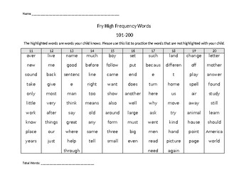 Fry High Frequency Words 1-500 Assessment