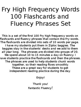 Fry High Frequency Words Flashcards and Phrases Fluency Set