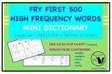 Fry High Frequency Words - writing support