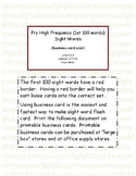 Fry High Frequency first 100 words