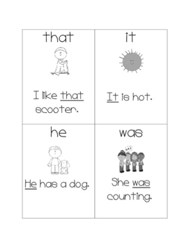 Picture and Sentence Fry Instant Sight Word Flashcards 1-25