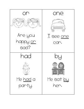 Picture and Sentence Fry Instant Sight Word Flashcards 26-50