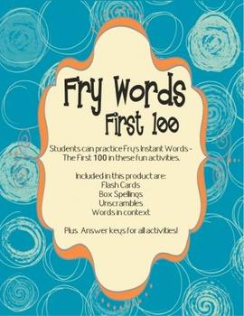 Fry Instant Words - First 100 Practice Worksheets
