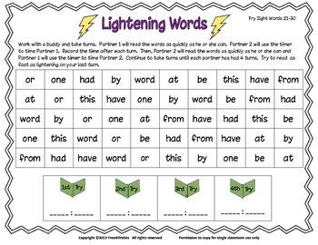 Fry Lightning Words 1-100