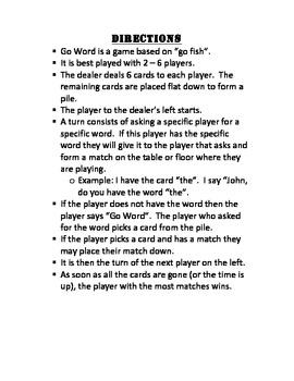 "Fry List 1-100 ""Go Word"" Game"