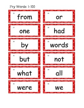 Fry List 1-100 word wall cards