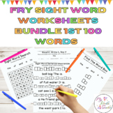 Sight Word Practice Worksheets  Bundle Fry Lists 1-4 1st 1
