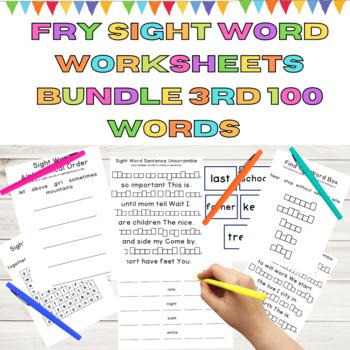 Fry List 1-4 Bundle Third 100 Words 20 Weeks of Sight Word Work