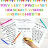 Fry High Frequency Words List 1 in First 100 Words 5 Weeks