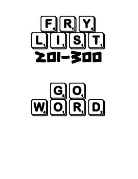 "Fry List 201-300 ""Go Word"" Game"