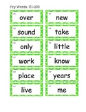 Fry List 101-200 word wall cards