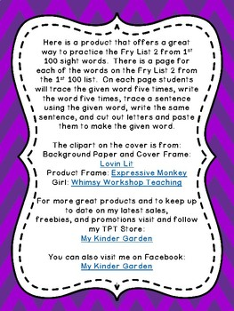 Fry List 2 in 1st 100 Write Trace Cut Paste High Frequency Words Sight Word Work