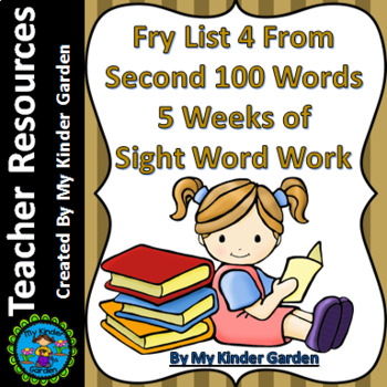 Fry High Frequency Words List 4 from 2nd 100 Words 5 Weeks of Sight Word Work