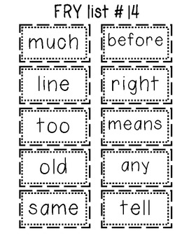 Fry List Flash Cards First 200 Words