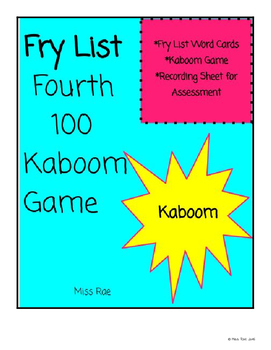 Fry List Fourth 100 Kaboom Game and Recording Sheet