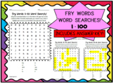 Fry List Words Word Searches 1-100!