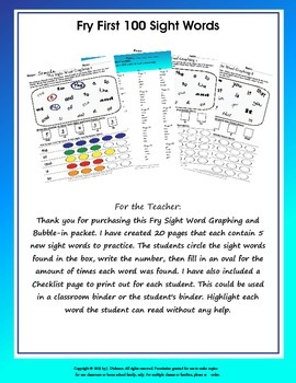Fry List of First 100 Sight Words Graphing