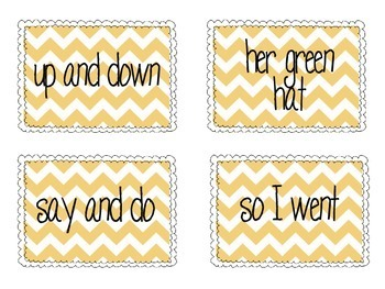 Fry Phrase Cards for Reading Fluency : Lists 1-4