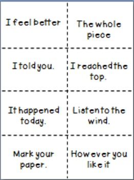 Fry Phrase Cards for Games & Practice - 4th hundred phrases