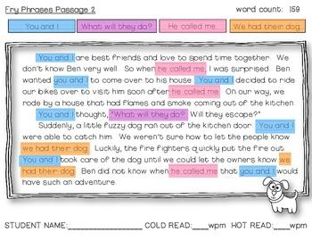 Fry Phrase Passage Fluency Pack