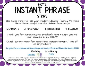 Fry Phrase Strips for Binder Rings - Set 5