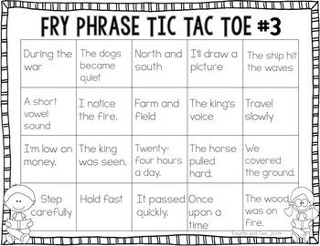 Fry Phrase Tic Tac Toe: Fourth Grade Edition