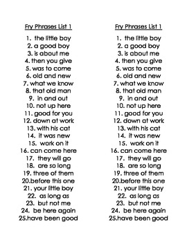 Fry Phrase Word Lists 1-24