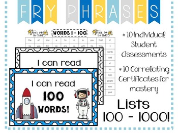 Fry Phrase  Sight Word Assessment: Lists 100 - 1000