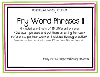 Fry Phrases #2 (8 sets of 25 phrases)