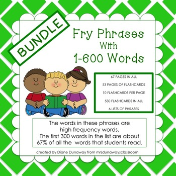 Fry Phrases BUNDLE with 1-600 Words